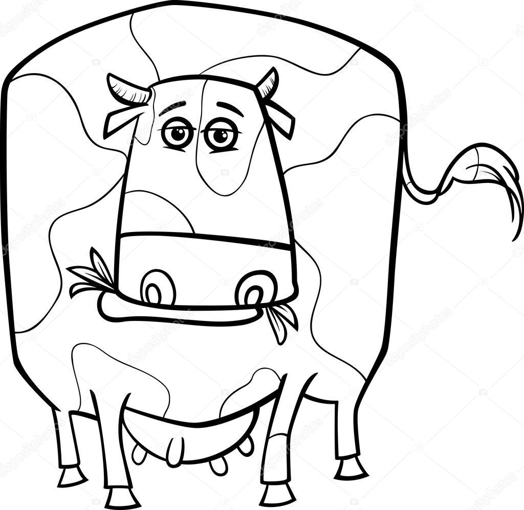 Coloriage Animaux Vache.Page De Coloriage Animaux Ferme Vache Image Vectorielle Izakowski