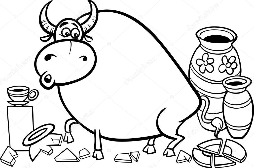 Toro en una cacharrería Página para colorear — Vector de stock ...