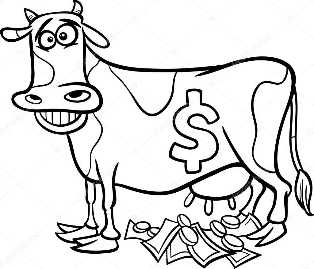 vaca lechera diciendo Página para colorear — Archivo Imágenes ...