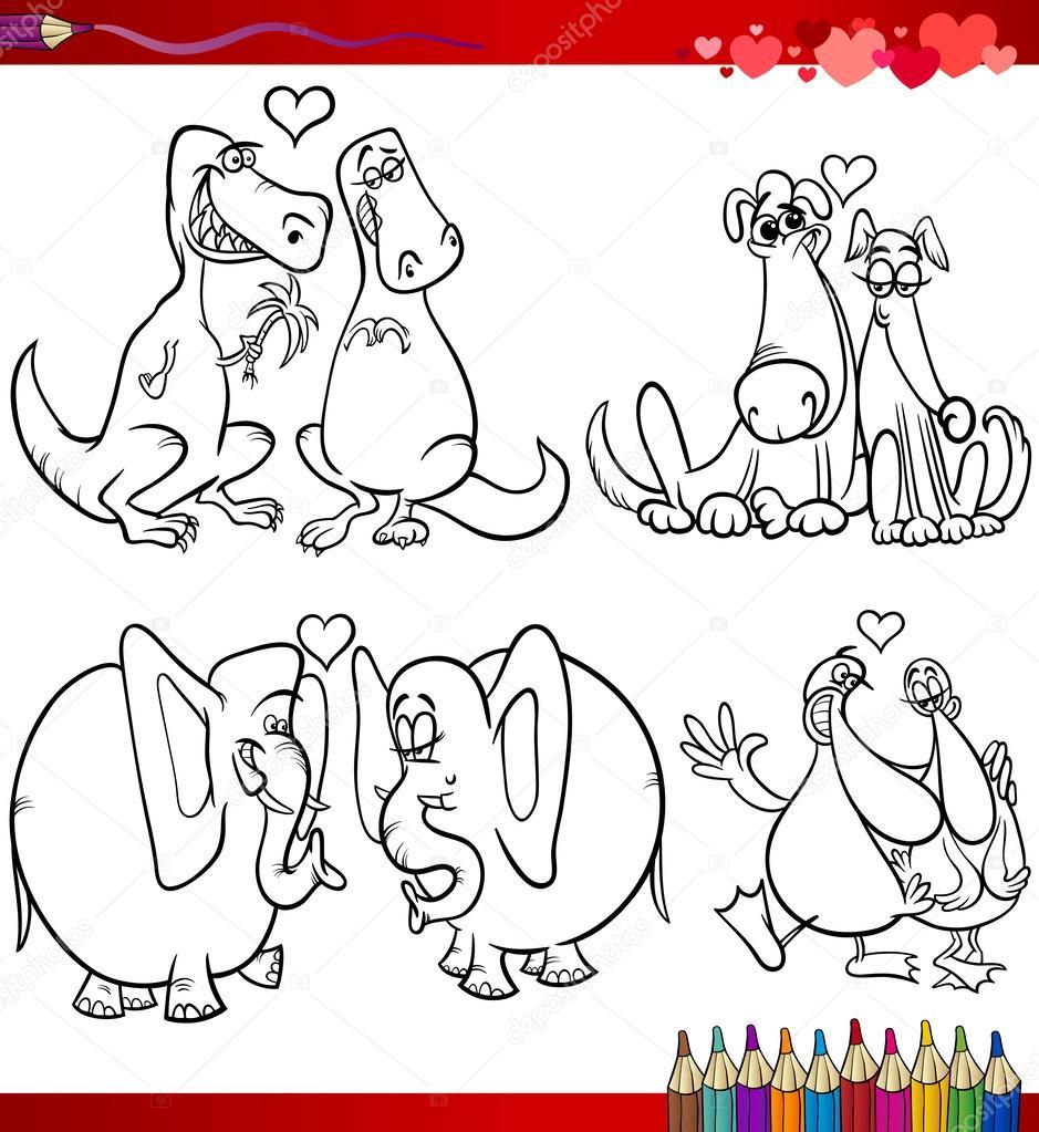 temas de dibujos animados de San Valentín para colorear — Vector de ...