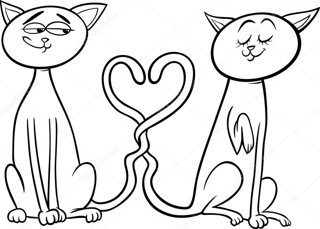 Coloriage Chat Amoureux.Chats En Amour Dessin Anime Coloriage Image Vectorielle