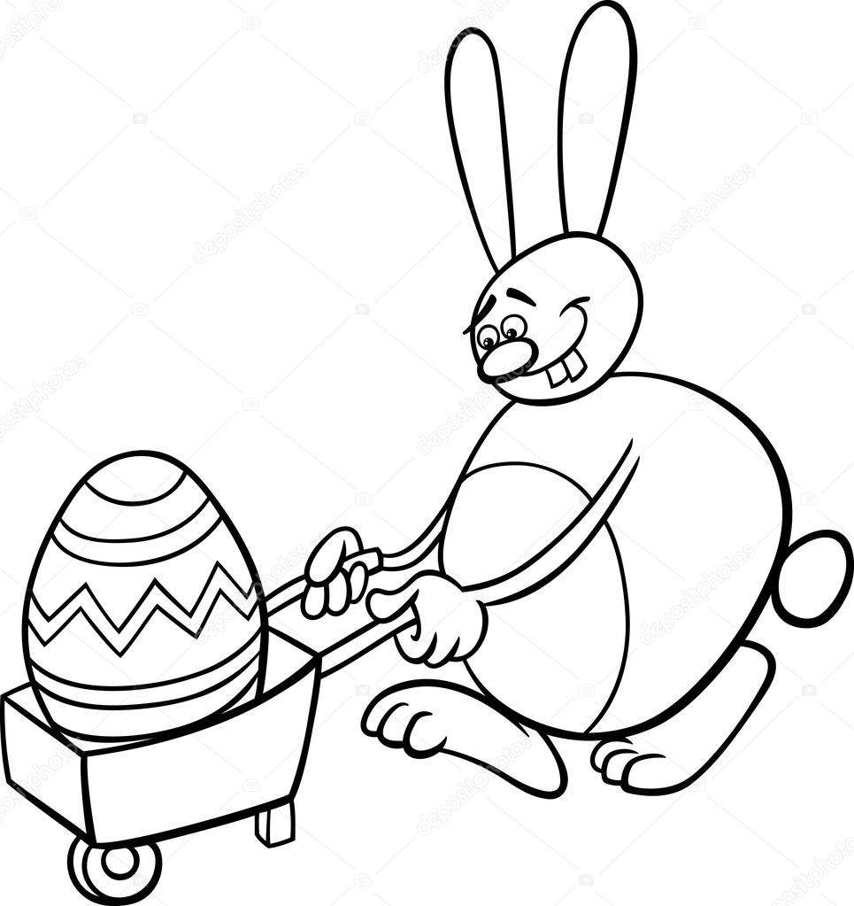conejo y huevo de Pascua para colorear página — Archivo Imágenes ...