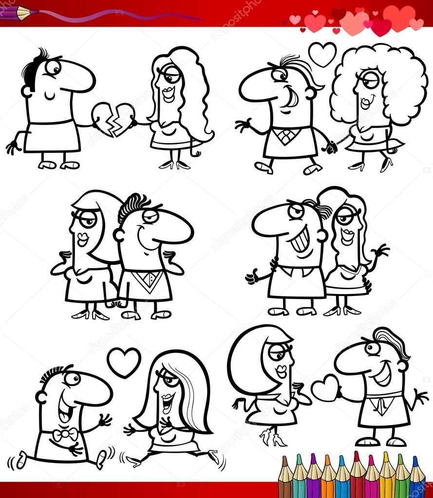 pareja de dibujos animados de amor para colorear página — Vector de ...