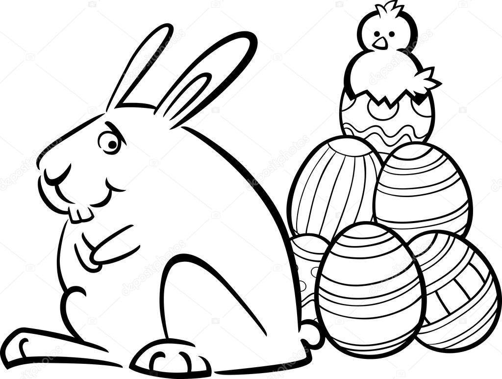 conejo de Pascua y los huevos para colorear página — Archivo ...