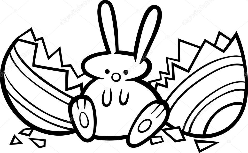 Página para colorear de Pascua Conejo de dibujos animados — Vector ...