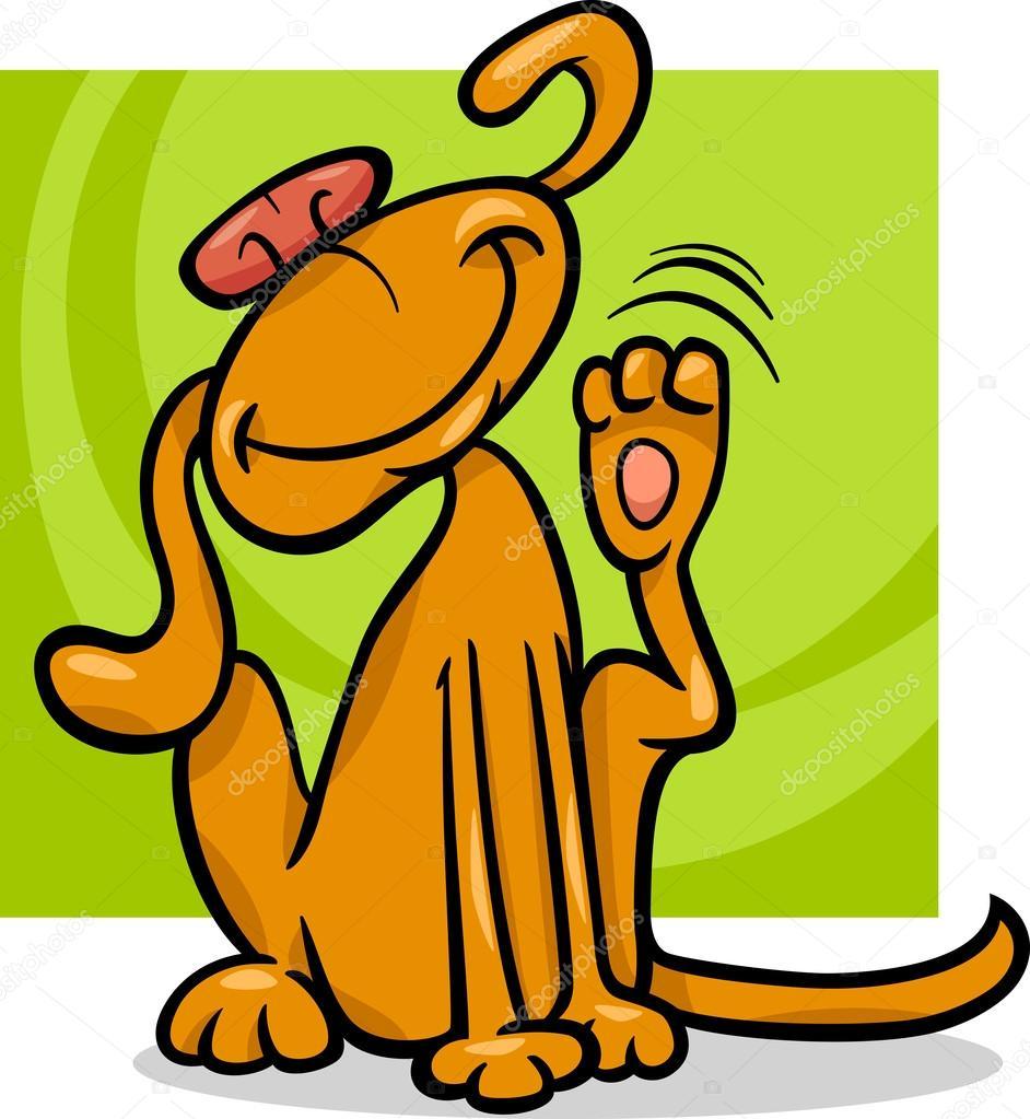 perro rascándose ilustración de dibujos animados de oreja — Archivo ...