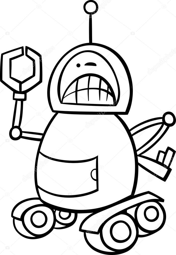 Página para colorear de robot enojado de dibujos animados — Archivo ...