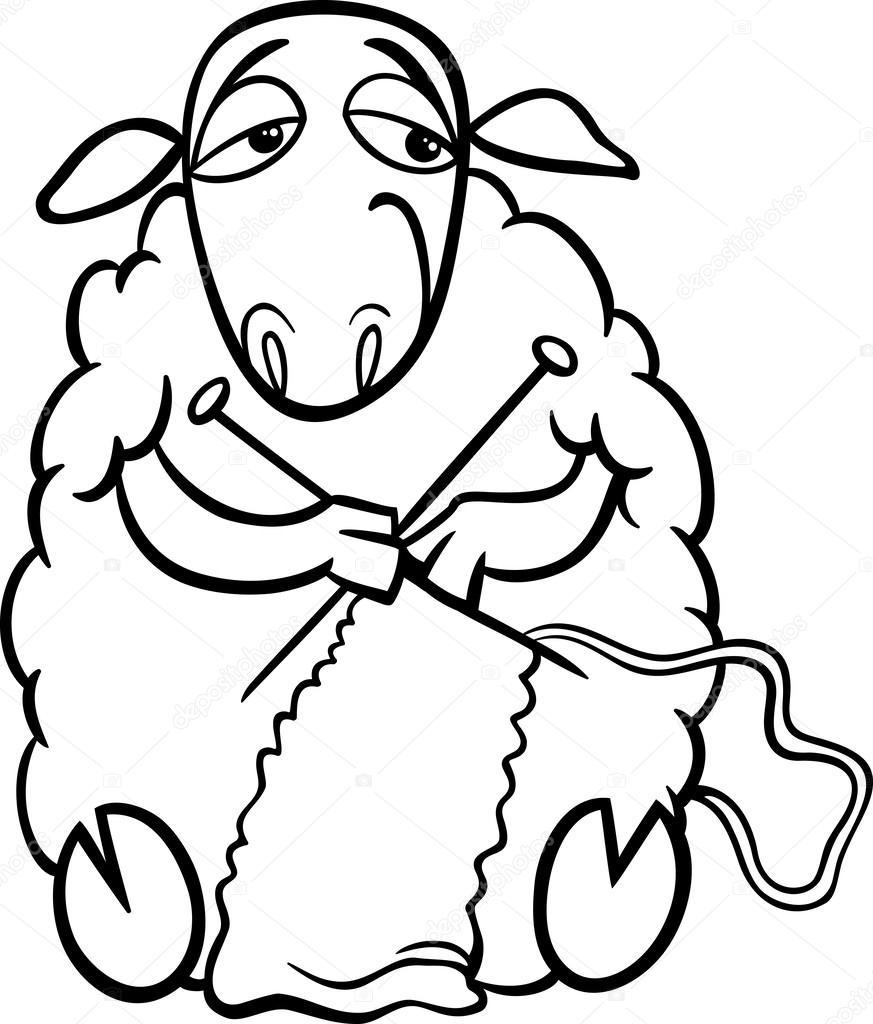 Página para colorear de ovejas de tejer — Vector de stock ...