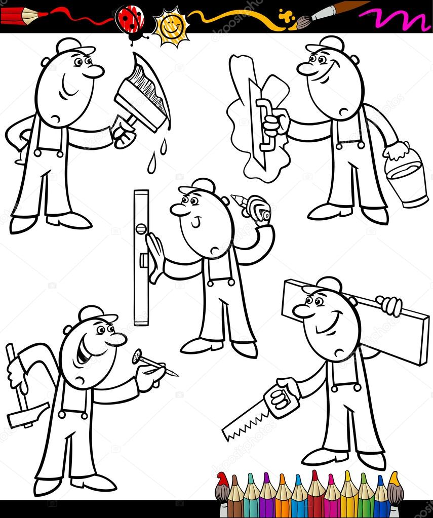 cartoon workers set for coloring book