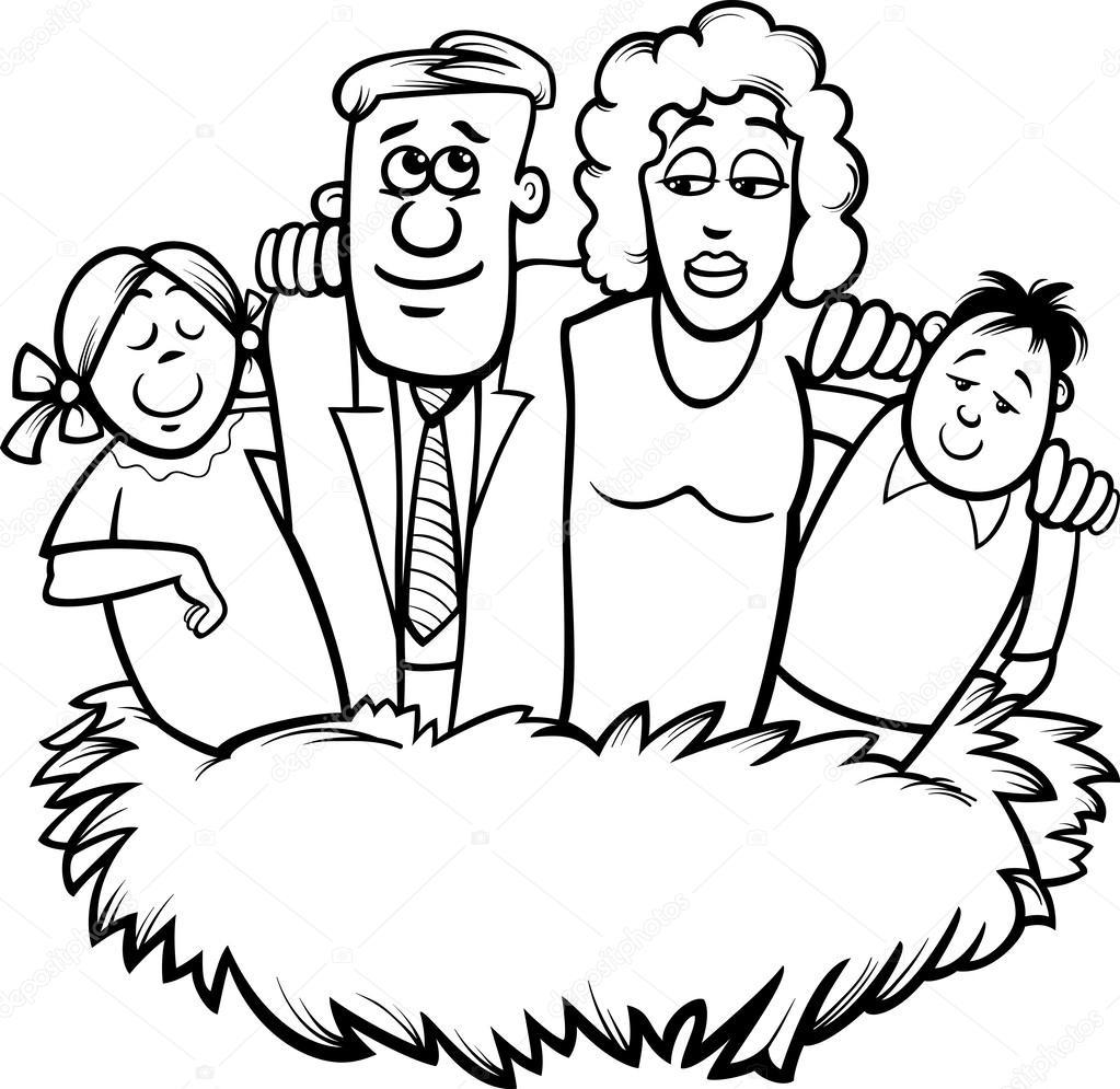 familia nido Página para colorear de dibujos animados — Archivo ...