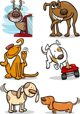 cartoon cute dogs set