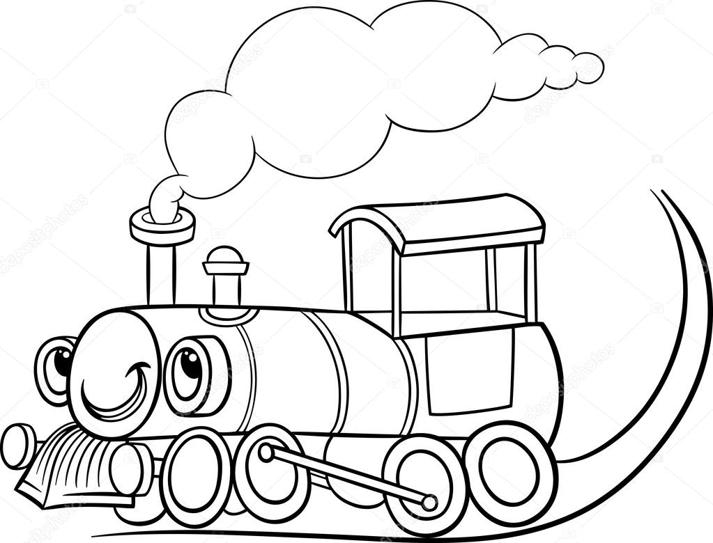cartoon locomotive or engine coloring page u2014 stock vector