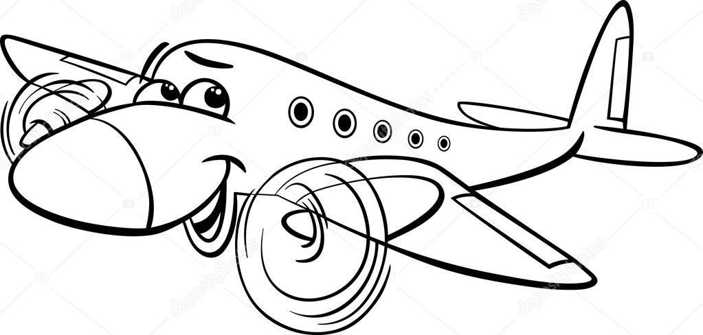 Página para colorear de aire avión dibujos animados — Vector de ...