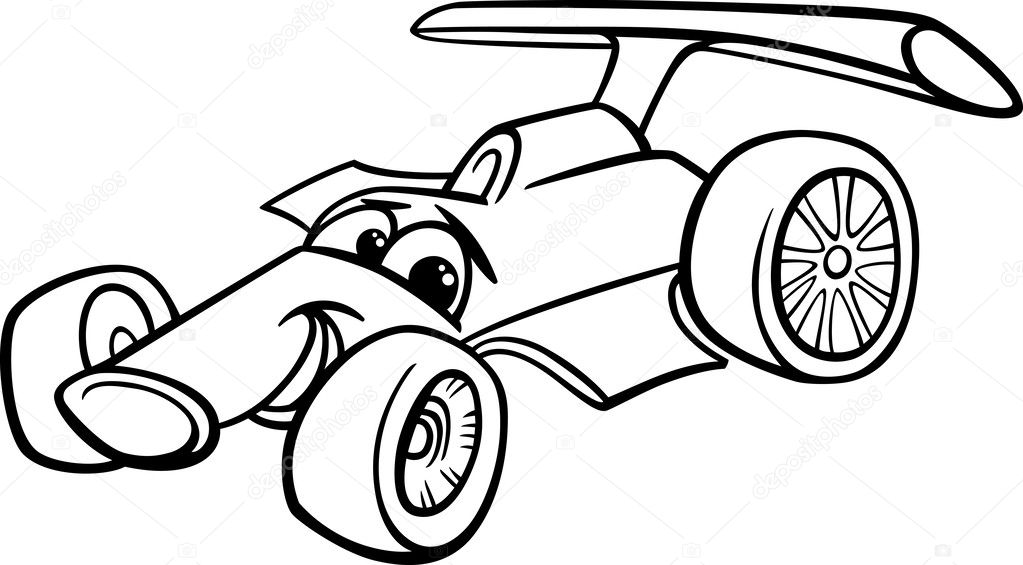 Racing Car Bolide Coloring Page Stock Vector C Izakowski 40558063