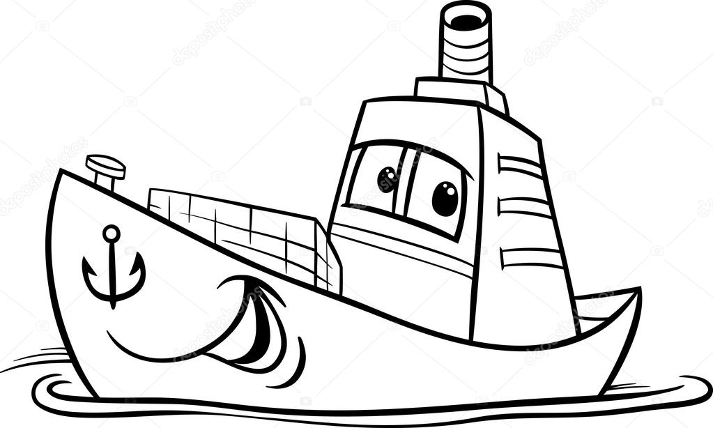 Konteyner Gemisi çizgi Film Boyama Sayfası Stok Vektör Izakowski