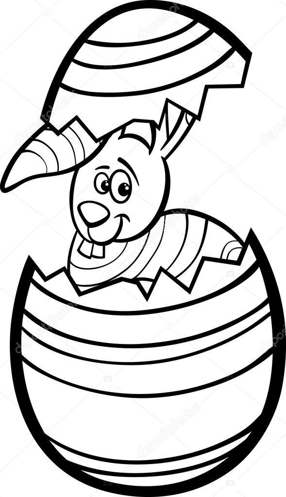 conejo en página para colorear de huevos de Pascua — Archivo ...