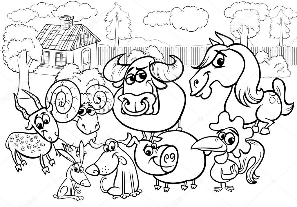 Farm Animals Cartoon Coloring Page Stock Vector C Izakowski