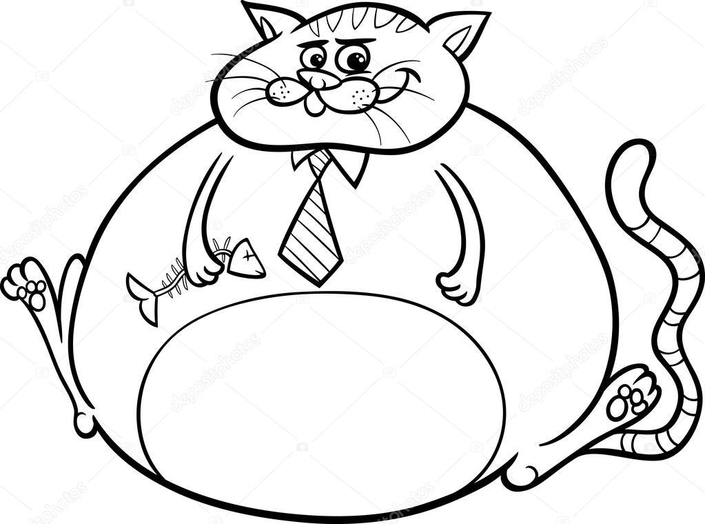 Dibujos: animados de gatos para colorear | gato gordo diciendo ...