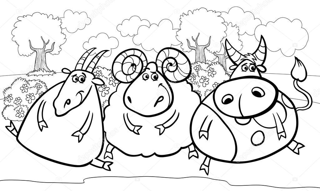Página para colorear de dibujos animados de animales de granja ...