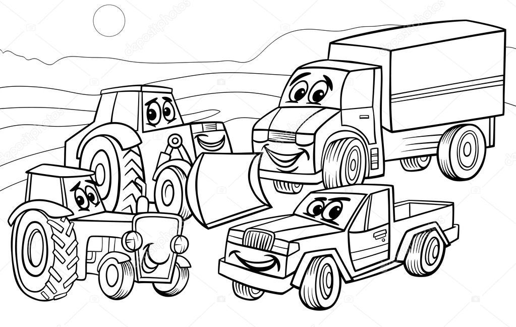 Kleurplaten Boerderij Machines.Voertuigen Machines Cartoon Kleurplaat Stockvector C Izakowski