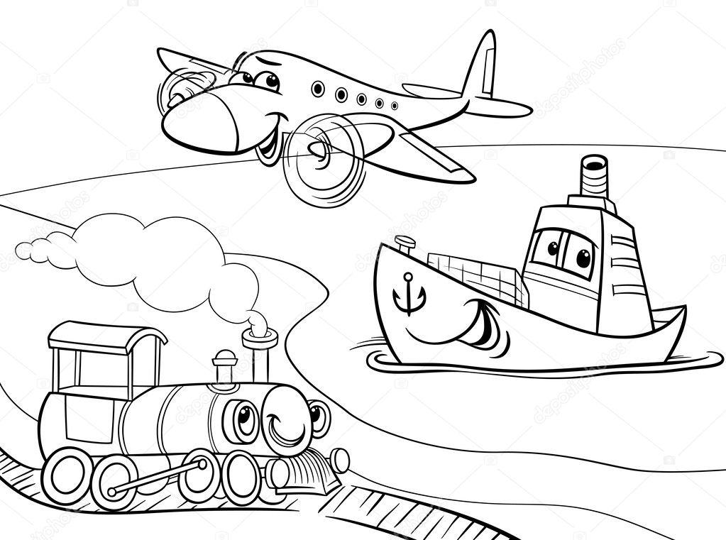 Uçak Gemisi Tren çizgi Film Boyama Sayfası Stok Vektör Izakowski