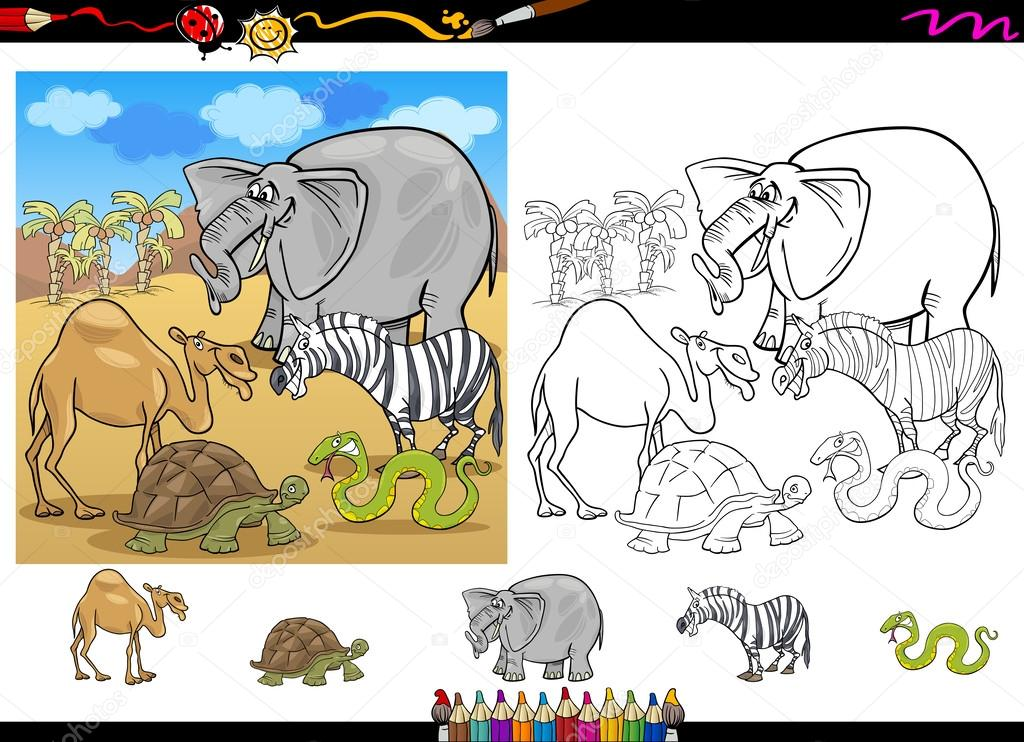 animales de Safari para colorear juego página — Vector de stock ...