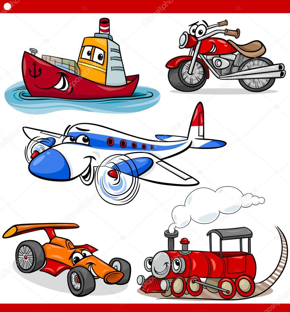 divertenti veicoli dei cartoni animati e auto set