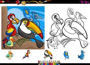 exotic birds cartoon coloring page set