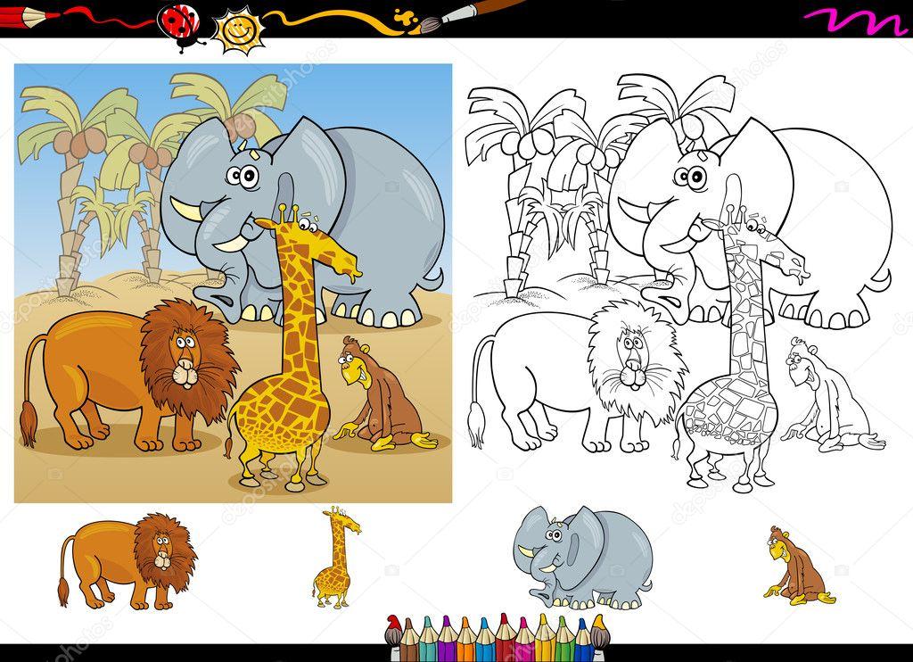 animales africanos para colorear juego página — Vector de stock ...