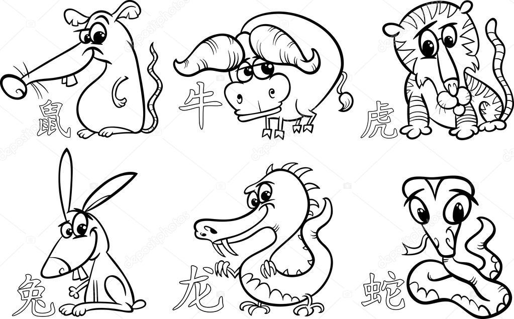 8dfa988a3 Black and White Cartoon Illustration of Six Chinese Zodiac Horoscope Signs  Set — Vector by izakowski