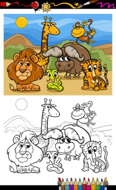 cartoon wild animals coloring page