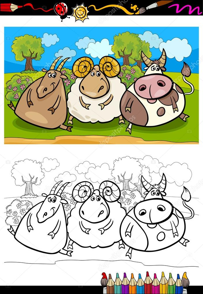Coloring Book Or Page Cartoon Illustration Of Country Rural Scene With Farm Animals Goat And Bull Ram Characters For Children Vector By Izakowski
