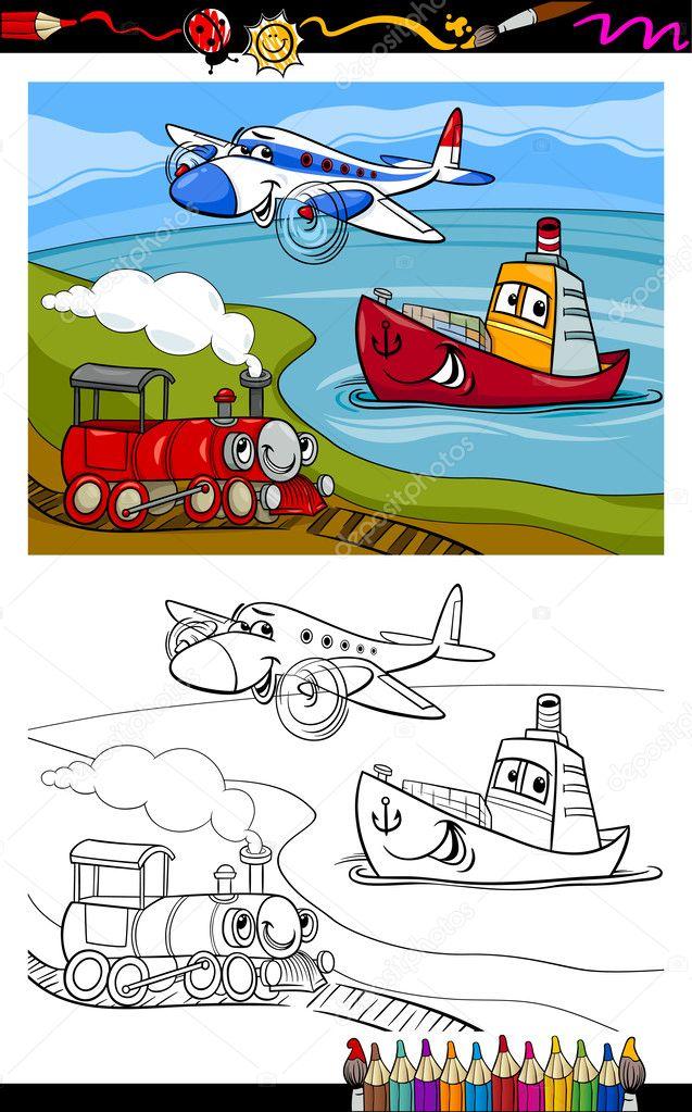 Cartoon Vliegtuig Trein Schip Kleurplaat Stockvector C Izakowski