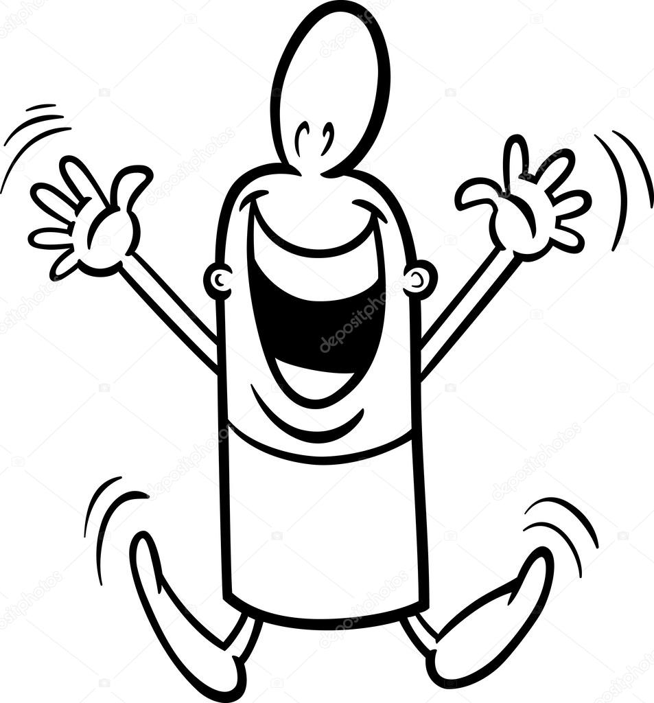 Black And White Cartoon Illustration Of Happy Or Excited Funny Guy Character For Coloring Book Vector By Izakowski