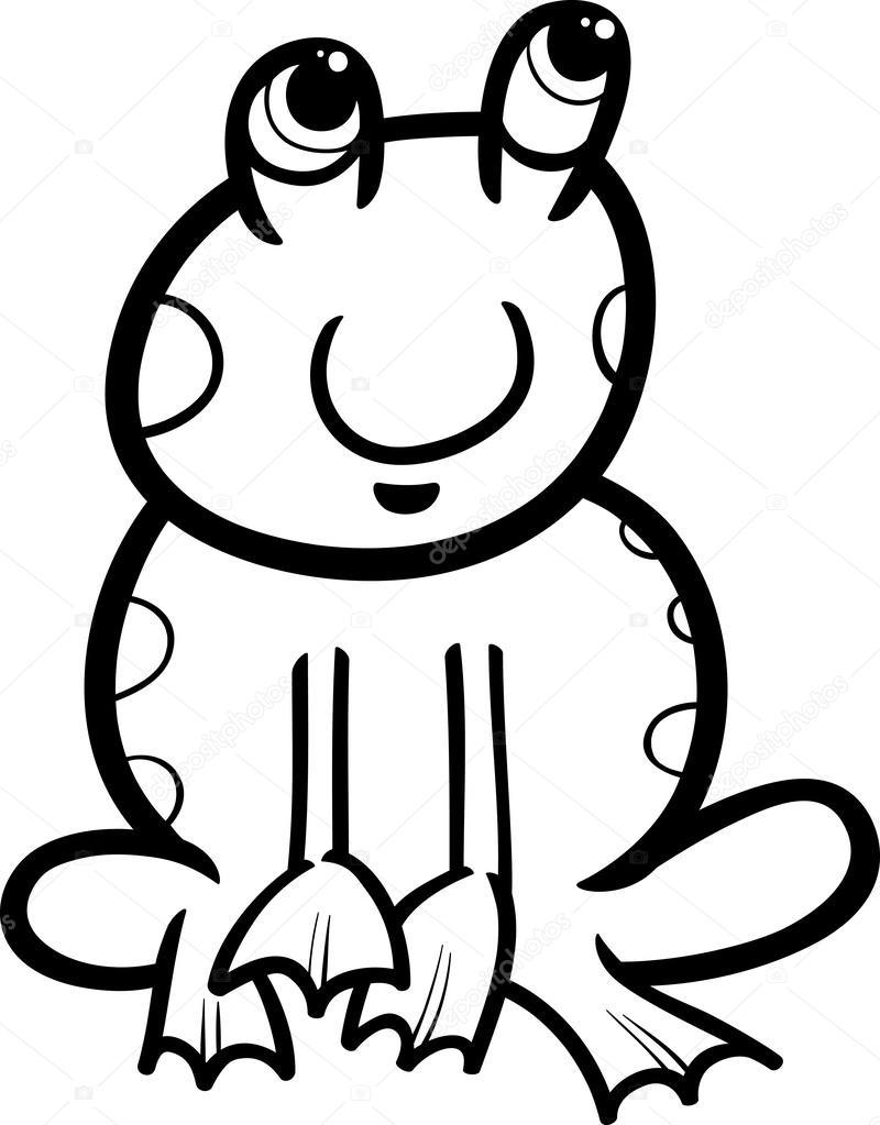 Pagina Di Rana Dei Cartoni Animati Da Colorare Vettoriali Stock