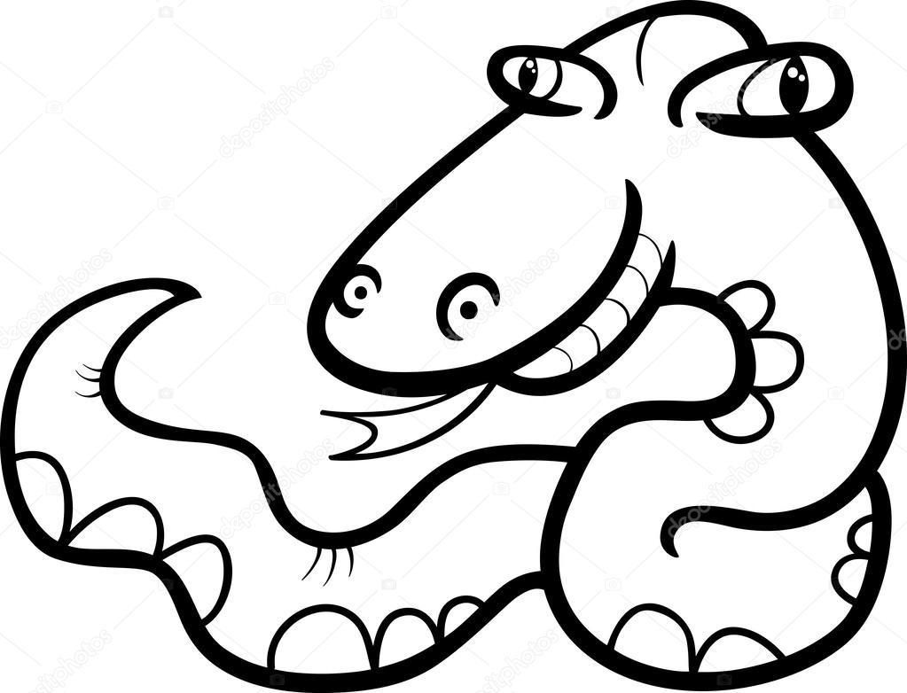 Página para colorear de dibujos animados de serpiente — Vector de ...