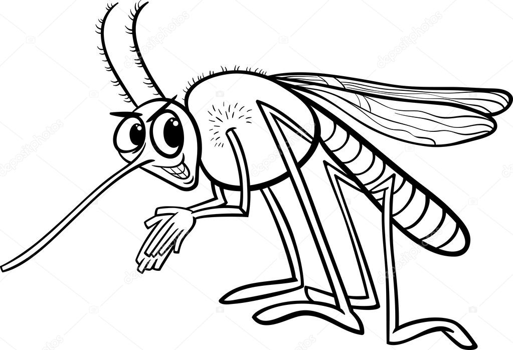 Black and white cartoon illustration of funny mosquito insect character for coloring book vector by izakowski