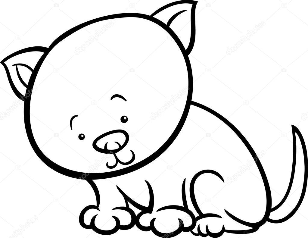 şirin Yavru Kedi çizgi Film Boyama Sayfası Stok Vektör Izakowski
