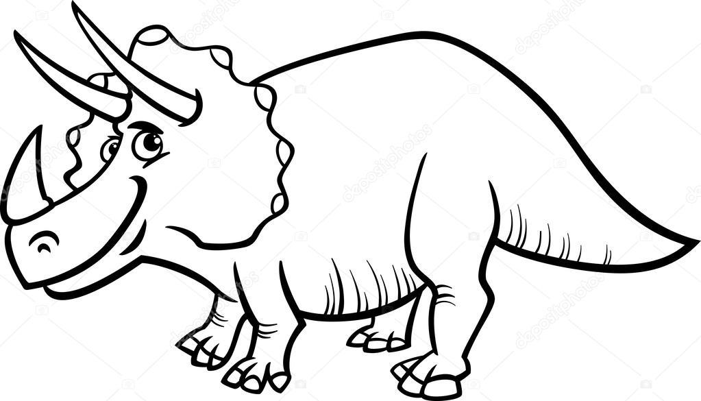 Coloriage Dinosaure Triceratops.Page De Coloriage De Dinosaure Triceratops Image Vectorielle