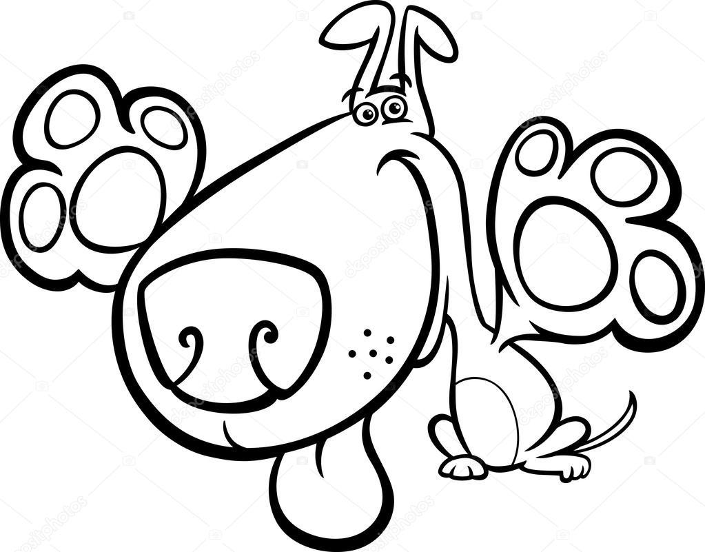 Sevimli Köpek çizgi Film Boyama Kitabı Için Stok Vektör