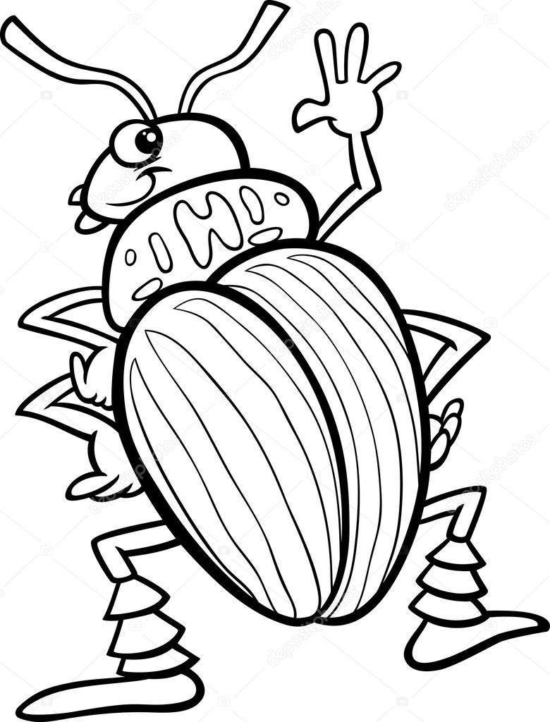 Black And White Cartoon Illustration Of Funny Colorado Potato Beetle Insect  Character For Coloring Book U2014 Vector By Izakowski
