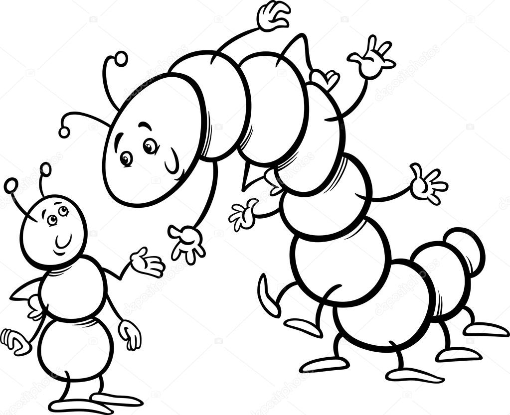 Ant And Caterpillar Coloring Page Stock Vector 43396861