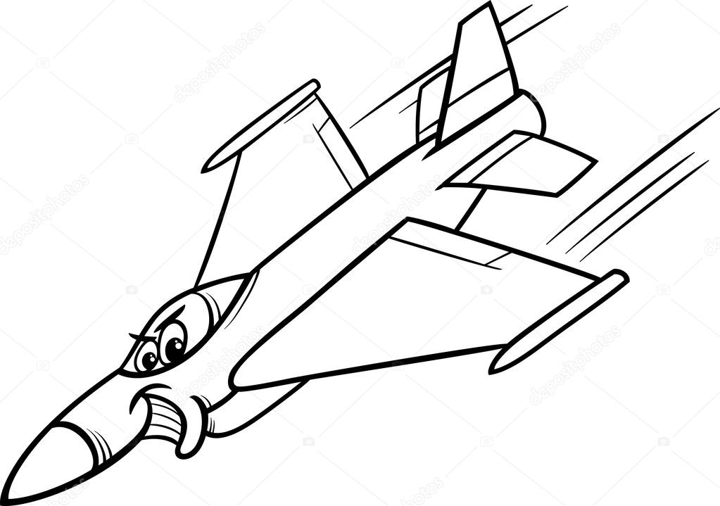 Página para colorear de jet fighter avión — Vector de stock ...