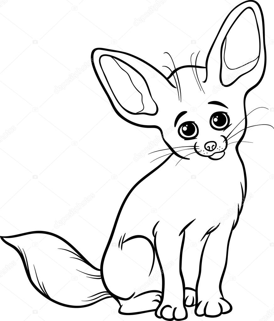 Great Black And White Cartoon Illustration Of Cute Fennec Fox Animal For Coloring  Book U2014 Vector By Izakowski