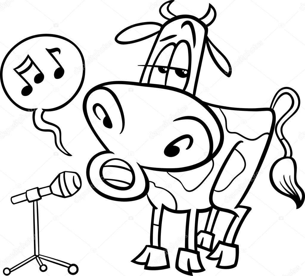 singing cow cartoon coloring page u2014 stock vector izakowski 43647049