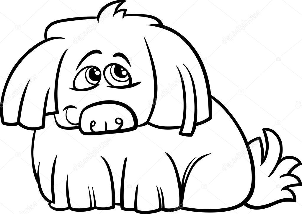 lindo perro peludo de dibujos animados para colorear página — Vector ...