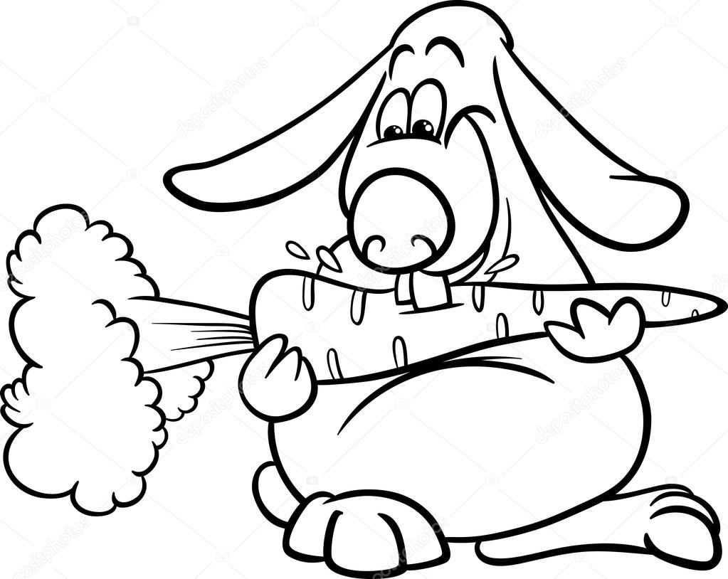 lop rabbit with carrot coloring page — Stock Vector © izakowski ...