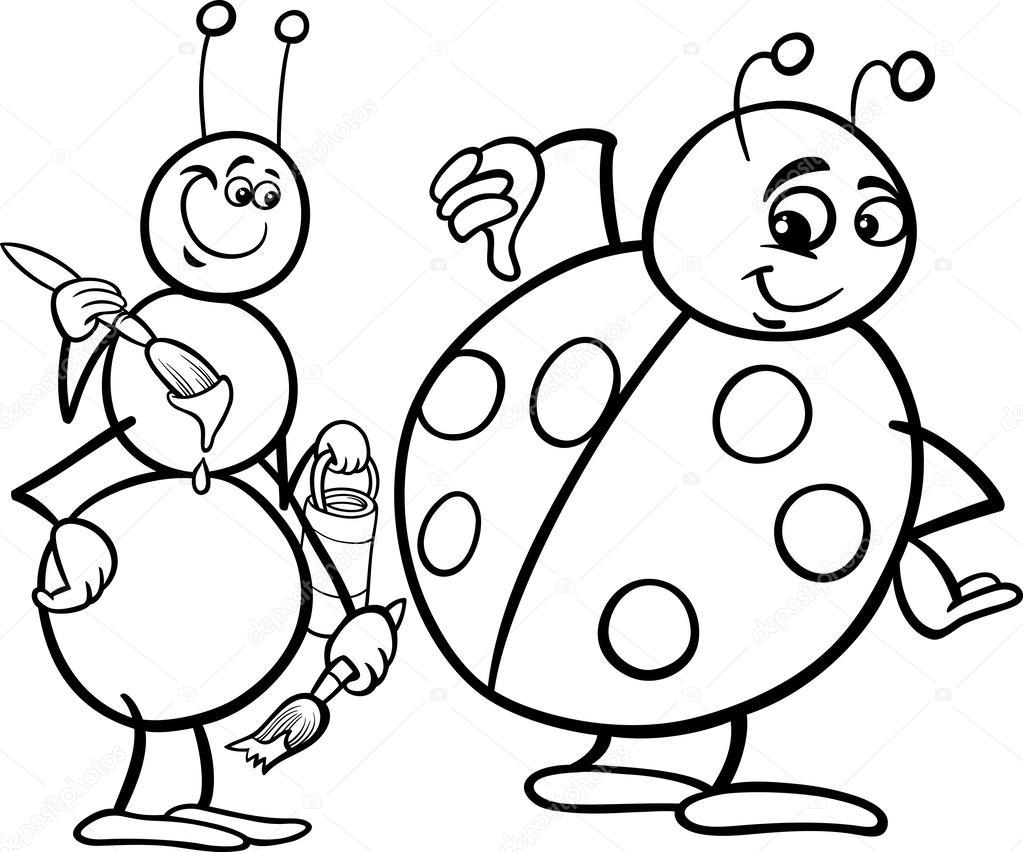 Karınca Ve Uğur Böceği Sayfa Boyama Stok Vektör Izakowski 43882425