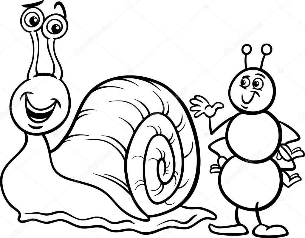 hormiga y caracol Página para colorear — Vector de stock © izakowski ...