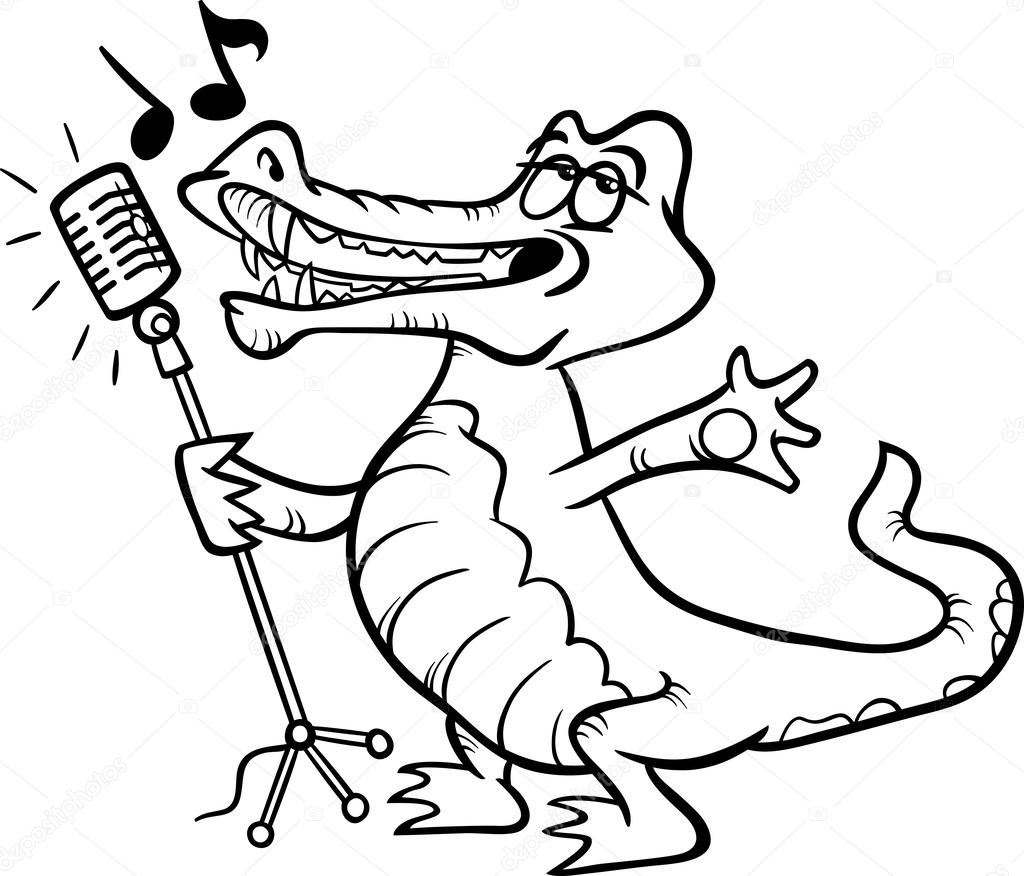 singing crocodile coloring page — Stock Vector © izakowski #44102379